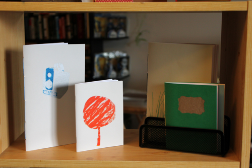 Ashley H's lovely screenprinted and stamped notebooks.