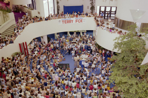 fuckyeahscarborough: Crowd gathered around Terry Fox in the central space of the Scarborough Civic Centre. July 11, 1980 from City of Toronto Archives