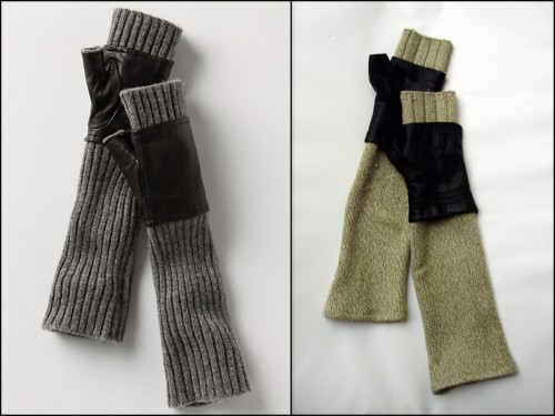 DIY Inspired by Anthropologie Ribbed Gloves (Original not available anymore on LEFT here, DIY on RIGHT). Love this simple tutorial. One of the best knockoffs I've seen. Tutorial at moja mama here.