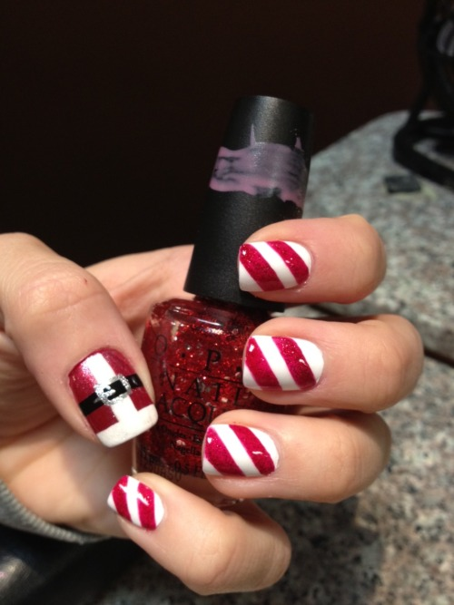 acrylics with Santa/Holiday designs-  by Kim N. of Chez Bella