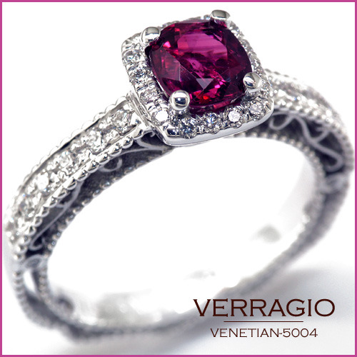 VENETIAN-5004 engagement ring from the new Venetian Collection, featuring a Cushion-cut deep red Ruby and 0.35ct of pave' set round brilliant-cut diamonds. Available in Gold and Platinum. http://www.verragio.com/Verragio-Engagement-Rings/Venetian-Engagement-Rings/VENETIAN-5004-3 Copyright © 2011 - Verragio, Ltd. All Rights Reserved.