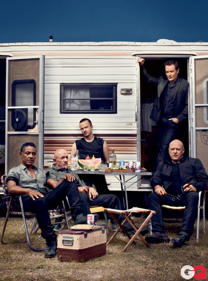 SO F'ING GRAND!  gq:  GQ's Badasses of the Year:The Men of Breaking Bad Our culture critic  Tom Carson on the AMC meth-dealer-in-the-desert epic's ensemble cast and its mesmerizing fourth season:  With just one season left to go, Breaking Bad has shifted  from being all about Bryan Cranston's triple-Emmy'd (so far) lead  performance to the best ensemble show on TV. This year, we were spun  around four compromised points of the male compass: brains (the  increasingly Machiavellian Walt), ego (Giancarlo Esposito's drug kingpin  Gus), heart (Aaron Paul's Jesse, Walt's reluctant sorcerer's  apprentice), and pure testosterone (Dean Norris as Hank, Walt's  DEA-agent brother-in-law—who's got a supernally wise dark-side twin in  Jonathan Banks, Gus's head enforcer). Which one we get off on most says  as much about us as picking our favorite Beatle.  [Photograph  by Robert Maxwell]