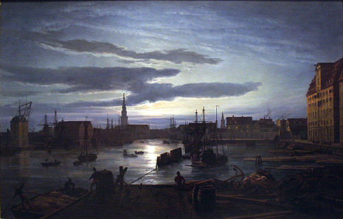 Copenhagan Harbour by Moonlight by J. C. Dahl, 1846. I love the romantic moonlight setting of this harbour painted during Dahl's trip to Denmark. The city skyline contrasts beautifully against the lightness of the evening.