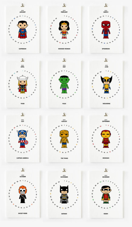 herochan:  2012 Superhero Calendar (printable DF) - by LOOPZ Available for $8.00 at Etsy.
