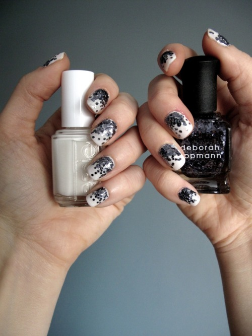 annamarie:  Fancy Nails!!: Essie - Marshmallow Deborah Lippmann - I Love The Nightlife OPI - RapiDry Top Coat 1. Paint all the nails with two coats of Essie Marshmallow 2. Apply Deborah Lippmann I Love Nightlife to the base of the nail bad, loading it up with a lot of glitter.  Using the edge of the brush lightly drag the polish/glitter up the nails. 3. Allow to dry 4. Apply OPI RapiDry TopCoat to the entire nail.