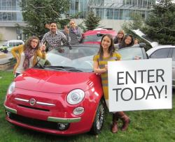 bing:  Day 2 of the Holiday Calendar is your chance to win a FIAT 500 Hatchback. It's like taking the reins of a new sled : )  A little scoop on the photo: wave hi to Ingrid, Sonam, Rafael, The Kelly's, Jane and Kristina from our team. It was quite cold during the outdoor photoshoot but thankfully not raining (a blessing during the Seattle winters!)