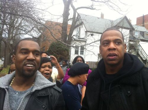 Kanye and Jay-Z hangin out at 79th and South Shore yesterday. (via Fake Shore Drive)