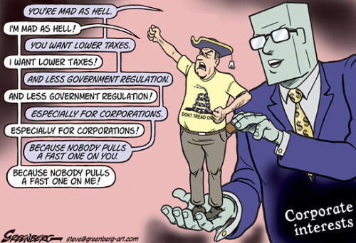 stfuconservatives:  cartoonpolitics:  Oh so *that's* how it works ..  If you really can't see this and that these are the same forces that tear down #occupywallst then you are painfully naive.  -Joe  It really bothers me that despite the fact the entire Tea Party movement is so transparently nothing more than corporations bamboozling the gullible, the bigoted, and the plain stupid, they still have members elected to Congress while OWS protesters are getting arrested, pepper sprayed and beaten.