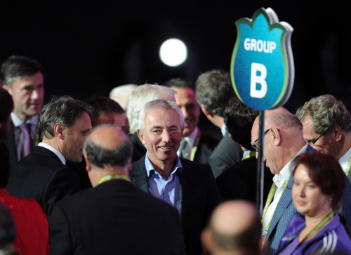 nationalpostsports:  Euro 2012 drawNetherland's manager Bert Van Marwijk smiles after being drawn in Group B after the draw ceremony of the Euro 2012 football championships. England were drawn in Group D with co-hosts Ukraine, Sweden and two-time winners France. Netherlands ended up in Group B with Germany, Denmark and Portugal. Photo: Franck Fife/AFP/Getty Images