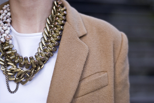 H&M necklace, and  wool coat from Queens Wardrobe (image: fashion-nerdic)