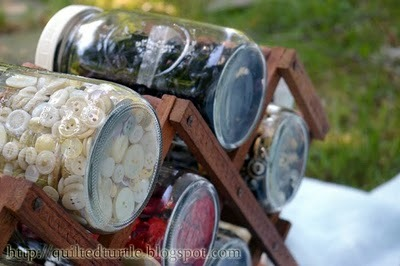 Wine Rack + Mason Jars as Storage
