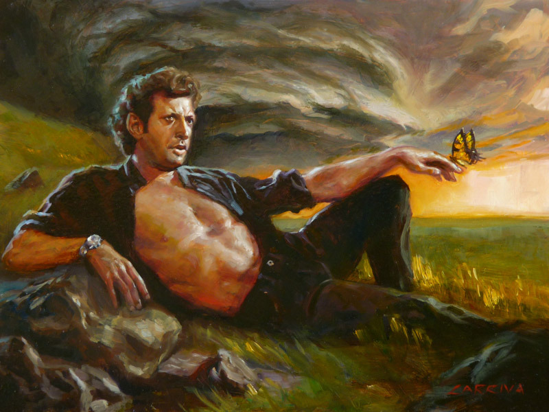 "juliavickerman:  ""Ian Malcolm: From Chaos"" by John Larriva One of the many lovely pieces in The JP Show opening tomorrow night at Gallery Nucleus. Come behold some beauty and throw back an amber Jell-O shot courtesy of Brandon Bird and myself.  6 - 10pm, 210 East Main St, Alhambra CA 91801"