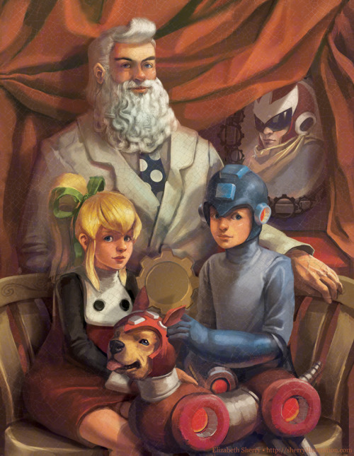 heathervaughn:  Mega Man Portrait, by Elizabeth Sherry.