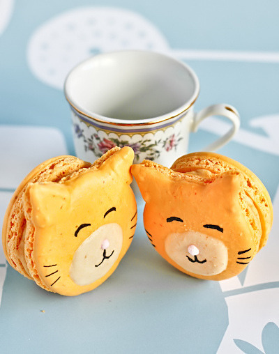 sweet-candy-coated:  ambrosiadessert:  Kitty Cat Carrot Macarons  Click HERE for more Sugar :)