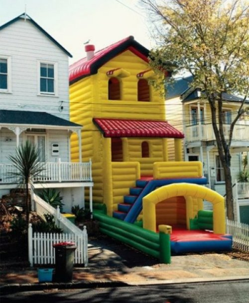 Bouncy House Beside Real House  Real estate prices in the neighborhood just skyrocketed.