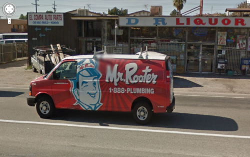 """Mr Rooter"" truck, California, United States - Thanks to Google Streetview"