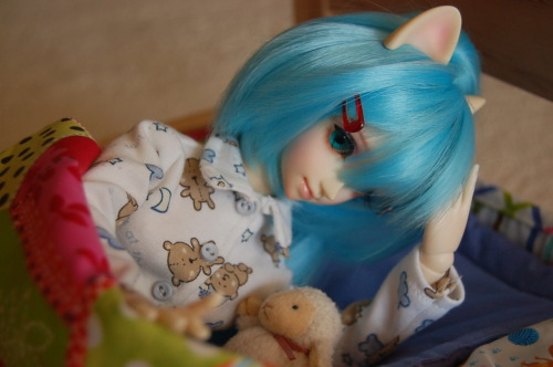 Sachi getting out of bed. Clothes made by me