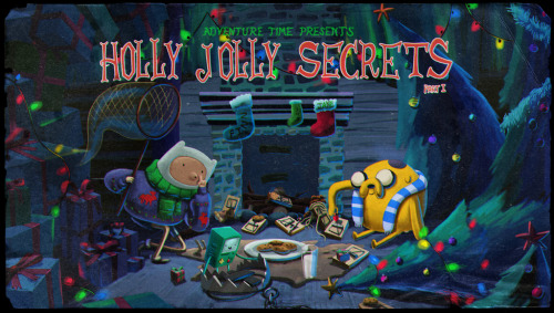 "adventuretime:  ""Holly Jolly Secrets Part I"" Title Card Design by Andy Ristaino, painting by Martin Ansolabehere and Nick Jennings. ""Holly Jolly Secrets Parts I & II"" premieres Monday night on Cartoon Network."