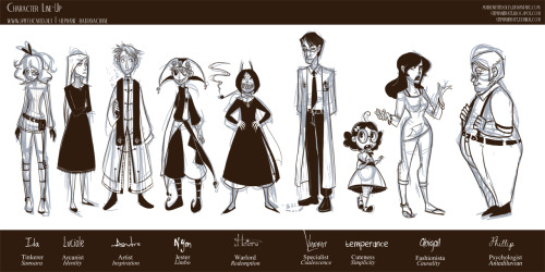Line up of various characters of mine from different stories/canons. Full size here.