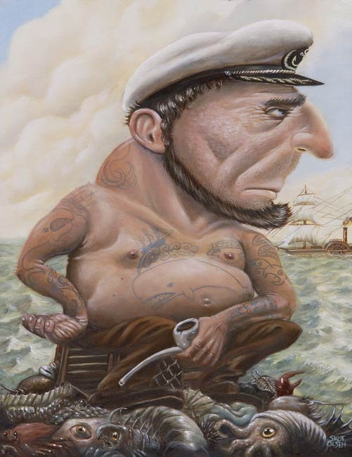 thingsihappentolike:  Skot Olsen - Fish Tales The sea captain in this painting has a lot of stories to tell. Even  though his days of whaling are over, he still remembers the good old  days with his tattoos. The tattoo on his chest commemorates the sinking  of the Essex, the actual event that Herman Melville based Moby Dick on.  The other tattoos show strange creatures he has seen during a life at  sea. He sits on a pile of weird things he has pulled up in his nets and  traps from the bottom of the sea.