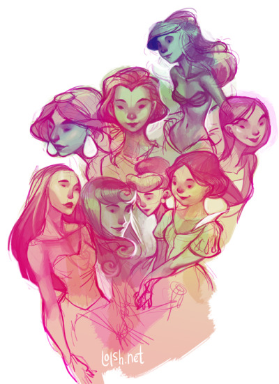 sophoslight:  Disney Princesses sketches by Lois van Baarle