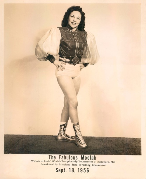 The Fabulous Moolah - 1956 Winner Girl's Wrestling World Championship - Baltimore, MDThose boots rock!