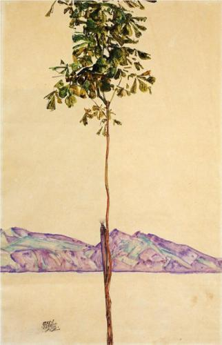 deadpaint:  Egon Schiele, Little Tree (Chestnut Tree at Lake Constance)  Fell in love with this artist today.