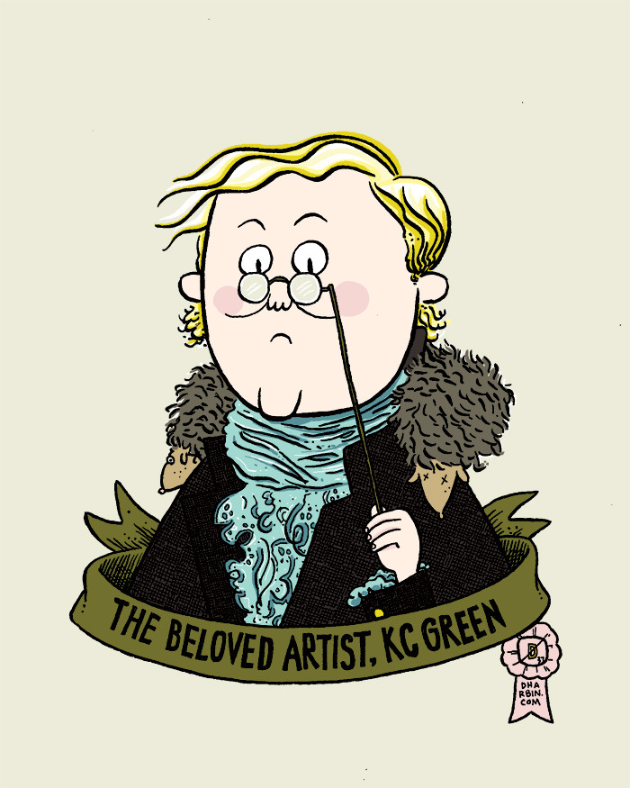 A portrait of KC Green, for the back label for a homebrew beer. The commissioner (because that's what you call someone who commissions an illustration, right?) had KC do the front label, and then I got to do a portrait of KC for the back. Super fun. Also, if you don't already read KC's Gunshow comic, then hot damn get with the program. Hot damn!