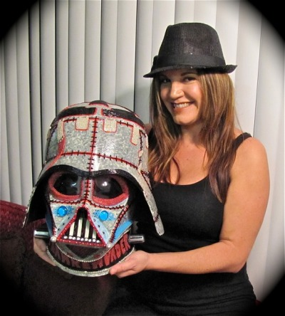 "GLOW IN THE DARK ""FRANKENVADER"" designed & created by Denise Vasquez for  Contest www.halloweencostumes.com/contest/darth-vader-helmet.asp This contest benefits two great causes! Stay Tuned for more announcements! Watch the making of video here http://youtu.be/0IyvDiWTBqY"