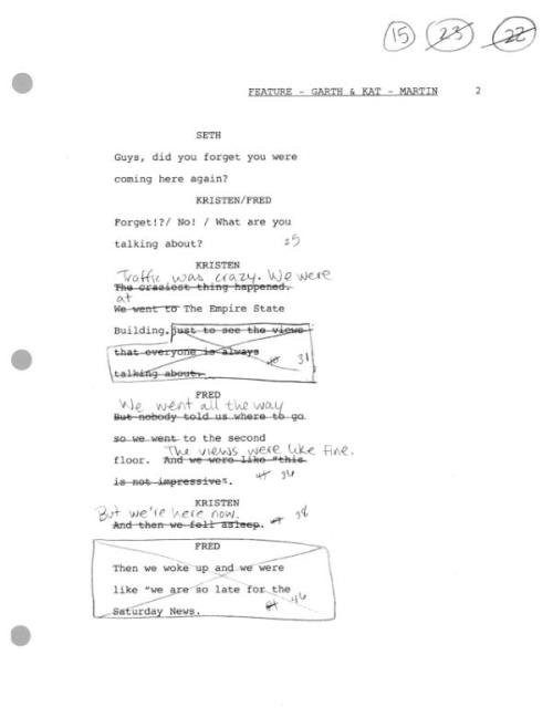 cokesnlfan:  @SNLUpdate: Here's sample page from air script for Garth & Kat from few weeks ago. Gives  a good idea of level of rewriting done.