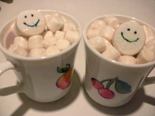 "This Thanksgiving, The Niece & The Nephew asked me for some homemade hot chocolate. No problem! As the milk was warming stovetop, I took the whim to add some surprise fun and silliness to their ""be sure there's tons of marshmallows pleeease!"" cocoa. I dipped the pointed end of a toothpick directly into food coloring vials, and drew the faces on two large marshmallows in three simple steps. Two dots for eyes, then a sweeping line for the smile. [The less you fuss the food coloring, the better, even if it's a bit imperfect.] Then I floated a raft of mini marshmallows for the big guys to nestle in. When I delivered the hot chocolate, their smiles were even bigger than the ones I drew. :D"