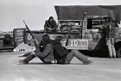 Blockade at Wounded Knee, The Dakotas, Indian Territory  on March 19, 1973 -  American Indian Movement activists block the road at Wounded Knee.