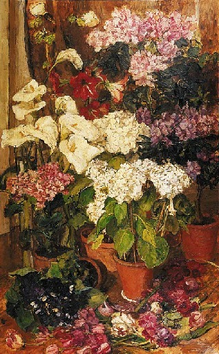 Barbara van Houten Hydrangea, Amaryllis and Rhododendrons Late 19th - early 20th century