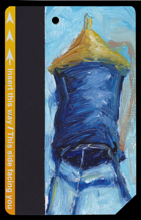 "Subway Card NYC Water Tower No. 15  2""x3.25"" oil on discarded subway card You can't have too many of these, seen?"