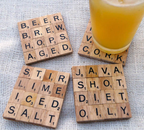 Super cool! storagegeek:  Scrabble Tile Coasters | Incredible Things I love these. A lot. No one would have to yell at me to use a coaster.