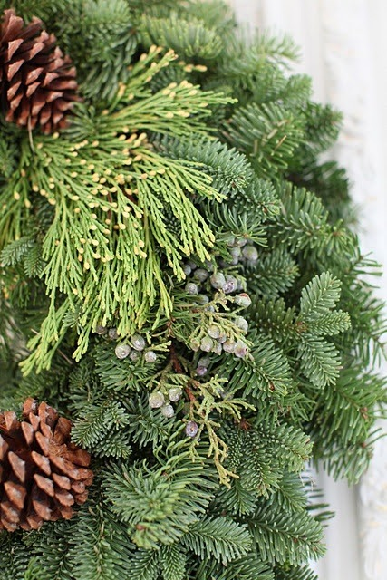 gorgeous and lush evergreen wreath {from dreamy whites}