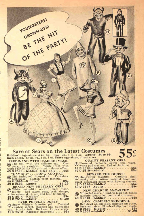 A selection of costumes from the Fall 1939 Sears catalog.