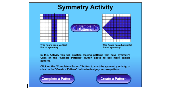 Online Symmetry Activity Tool - Complete a pattern or create your own. #elemchat #spedchat #mathchat Also has offline activities. You may also like… Free Online Graph/Grid Paper Virtual Cubes 400+ Science and Math Toys