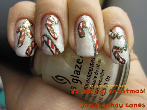 """25 Days of Christmas!Day 1: Candy CanesColors Used: OPI""""Alpine Snow""""Sally Hansen Insta-Dri""""Rapid Red""""Kleancolor """"Black""""China Glaze""""White Cap"""""""