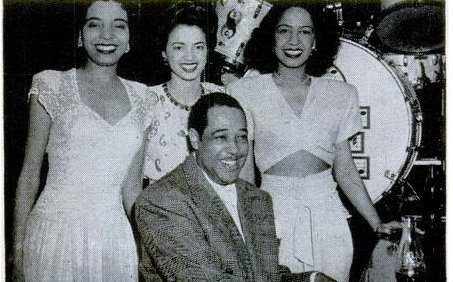 Duke Ellington and his singers Joya Sherrill, Kay Davis and Maria Ellington (no relation - later Mrs. Nat King Cole, mother of Natalie and niece of Charlotte Hawkins Brown).