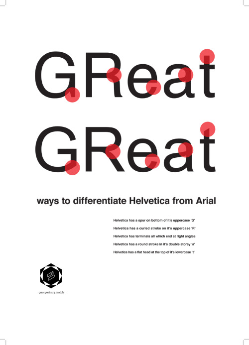 eichbaum:  Great ways to differentiate Helvetica from Arial. Also on facebook.com/kleinigkeiten or pinterest.com/kleinigkeiten.  Le basi.