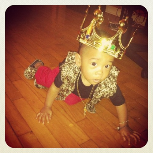 My son in his king outfit for his 1st birthday jungle theme party.. (Taken with instagram)