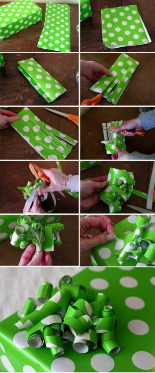 wrapping paper bow for the extra scrap papers