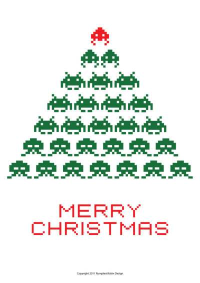 Space Invaders Merry Christmas - by Hence72  5 cards for £15 GBP ($24.02 USD) @Etsy