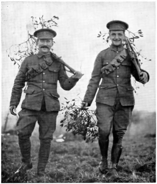 British soldiers carrying mistletoe, Christmas 1914.  Love this- finding joy in something terrible.  Look at the smiles on their faces!