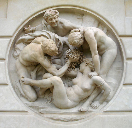 Bacchanale by Jules Dalou, 1895-98. The only information I can find on this sculpture by French artist Dalou is that it is based on the worshipping of Bacchus, the Roman god of wine, (Dionysus in Greek). The scene to me looks quite violent and forceful; if anyone has any background information, I'd love to hear it!