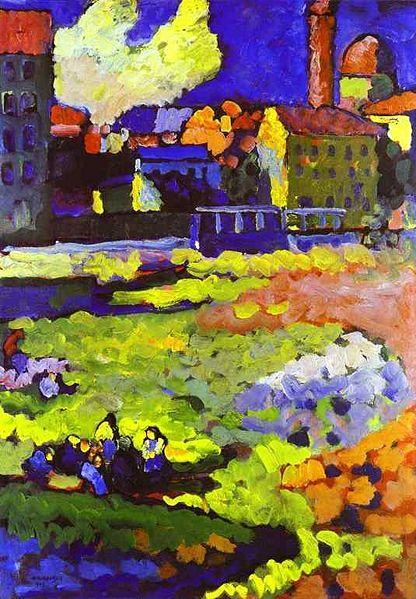 Munich Schwabing with the Church of St. Ursula by Wassily Kandinsky, 1908. Kandinsky is arguably best known for his purely abstract compositions of circles and linework. But a lot of his earlier work features more recognisable subjects and shapes, with confident Impressionist-style brushstrokes.