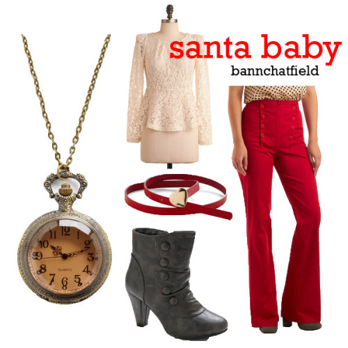 "HOLIDAY SONG CONTEST ENTRY ""Santa Baby"" by bannchatfield In the Right Lace Top - $52.99 Rouge on Your Radar Pants - $64.99 Love Every Cinch of You Belt - $19.99 City Visitor Bootie - $44.99 Very Important Date Necklace - $19.99"