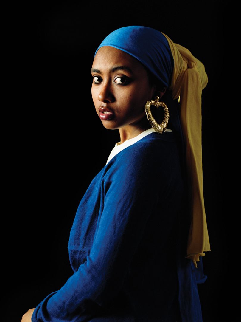 liquornspice:  ethiopienne:  artsysharlie:  Girl with a Bamboo Earring by Awol Erizku  this is DOPE. and i don't even like that word.  I love this for reasons. #AroundTheWayGirlwithBambooEarring