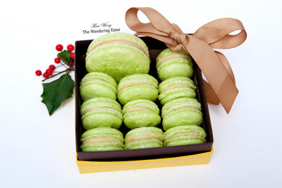 My homemade pistachio macarons from Pierre Hermé's recipe.   My recipe and post is here.